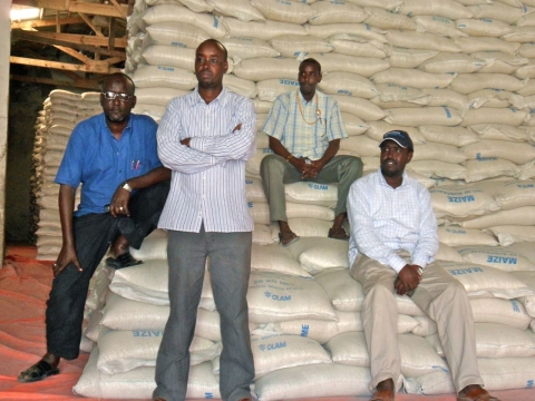 SAACID staff from left: Adan Yusuf Mahdi, CTC Program Manager; Bashir Hussein Mohamoud, Chief Financial Officer; Asad Ahmed, CTC Outreach Manager; and Abdullahi Mohamed Ibrahim, CTC Head Nurse
