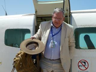 Bowden on an earlier visit to Somalia