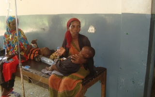 Malnourished child receiving treatment